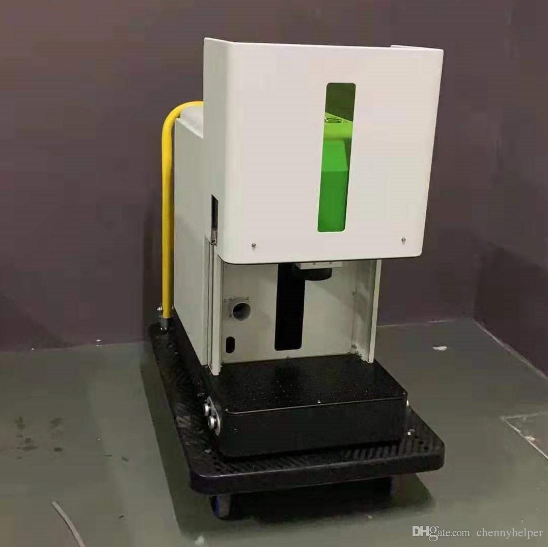 engclosed 30W الكامل ليزر الحامية الألياف نوع المحمول المعدنية آلة وسم مع ما يصل كهربائي أسفل الجدول لالمعلقات
