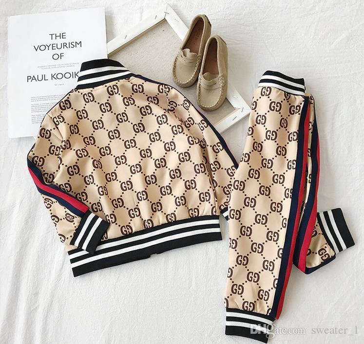 Casual Marke Sportswear-Baby und Babykleidung Art und Weise Kontrastfarbe zweiteilige Brief Strickjacke Jacke Babyklage Großhandel 2T - 8T