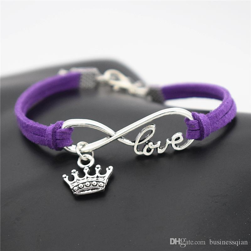 Hot Selling Antique Silver Braided Purple Leather Rope Infinity Love Elegant King Crown Bracelets & Bangles Charm Fashion Women Men Jewelry