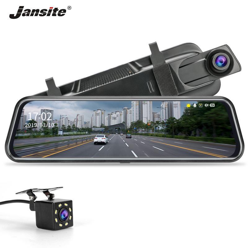 Jansite pantalla táctil de 10 pulgadas de la cámara del coche DVR 1080P Dash espejo de doble lente auto video de la cámara de visión trasera con Backup