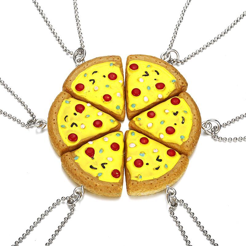 가장 친한 친구 영원히 목걸이 친구 1 세트 피자 목걸이 또는 Keychian 우정 최고의 선물 6 PCS