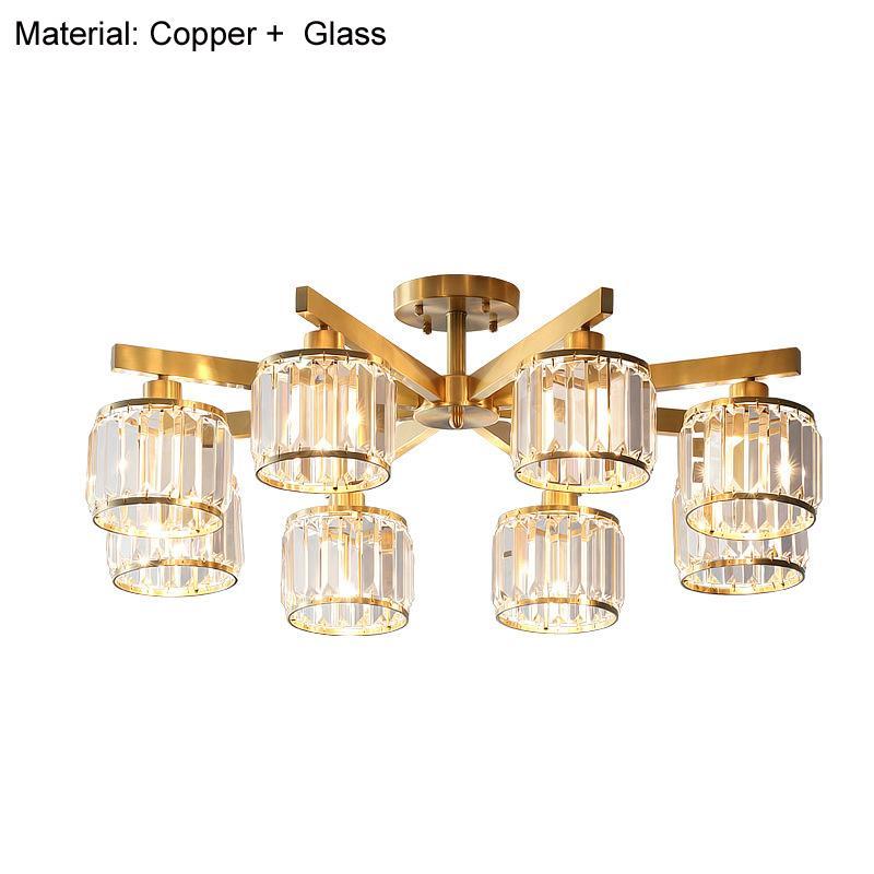 Dormitorio material de cobre pendiente moderna de la lámpara LED accesorio de iluminación de araña de cristal de la sala de luz Cobre Colgando nórdica lámpara D86