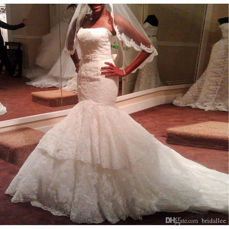 Vestido de Novia de Playa 2019 Vestidos de novia Sirena Sweethart Vestidos de novia de encaje largo