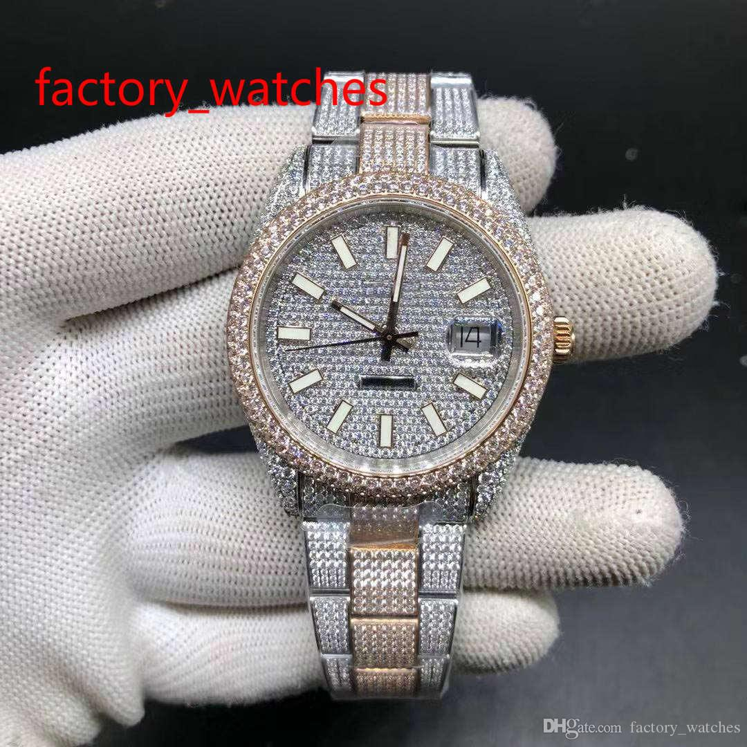 Full diamonds two tone watch automatic men's stainless steel rose gold and silver case with diamond dial luxury shiny new arrivals