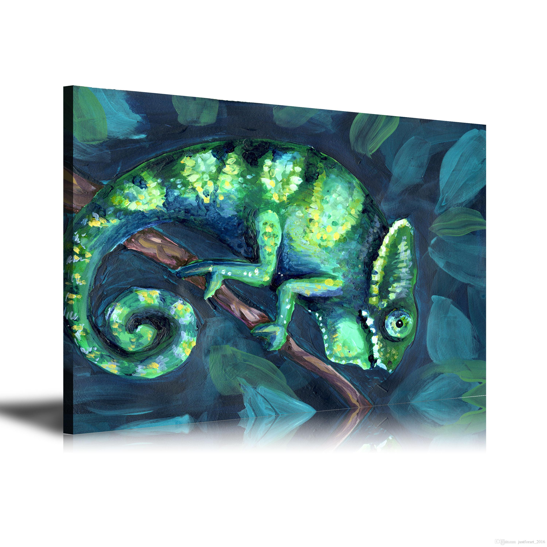 HD Baskılı Hayvanlar Yağlıboya Ev Dekorasyon Duvar Sanatı Tuval üzerine Bukalemun 24x32 inç Çerçevesiz