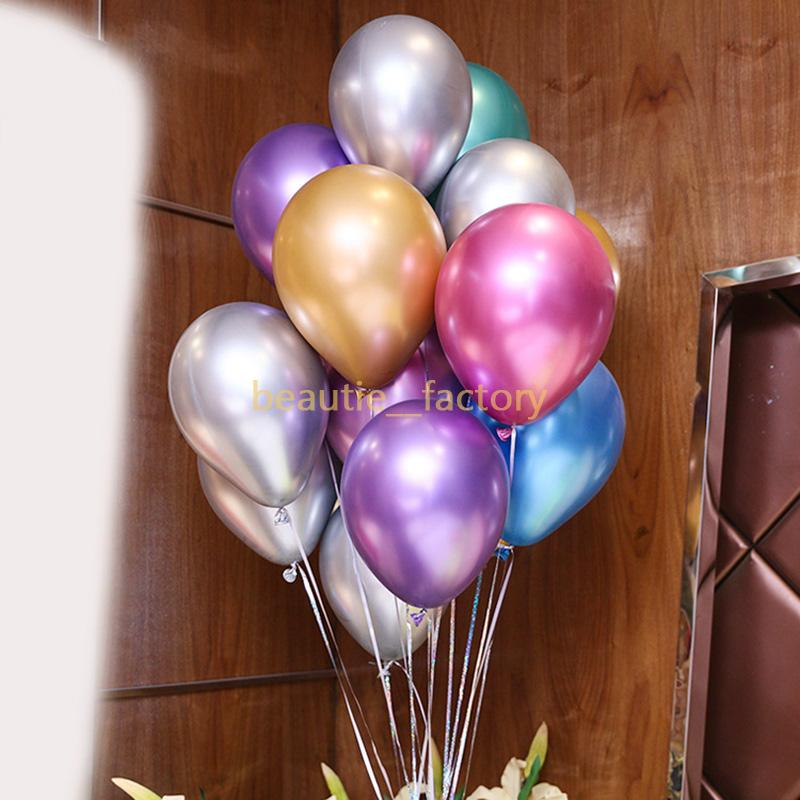 "50Pcs Metallic Latex Balloon 12"" High Quality 3g Metal Balloons Multi Colors Party Celebration Decoration Free Shipping"