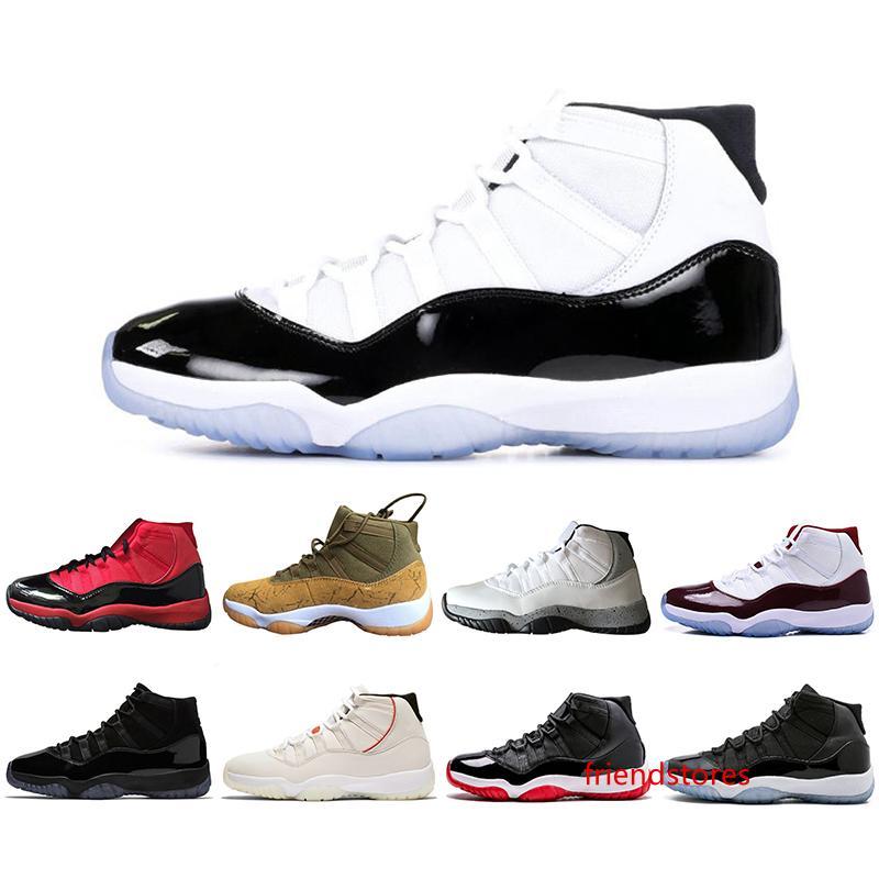 Nueva llegada 11s 11 zapatos de baloncesto del Mens Concord 45 Atmósfera Gris Platino Tinte atasco del espacio Gimnasio Rojo Diseñador hombres se divierten las zapatillas de deporte de Estados Unidos 5-13