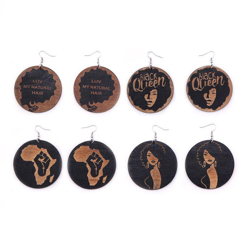 패션 숙녀 기하학 나무 귀걸이 아프리카 블랙 라운드 매력 펜던트 매달려 골동품 후프 나무 귀걸이 여성을위한