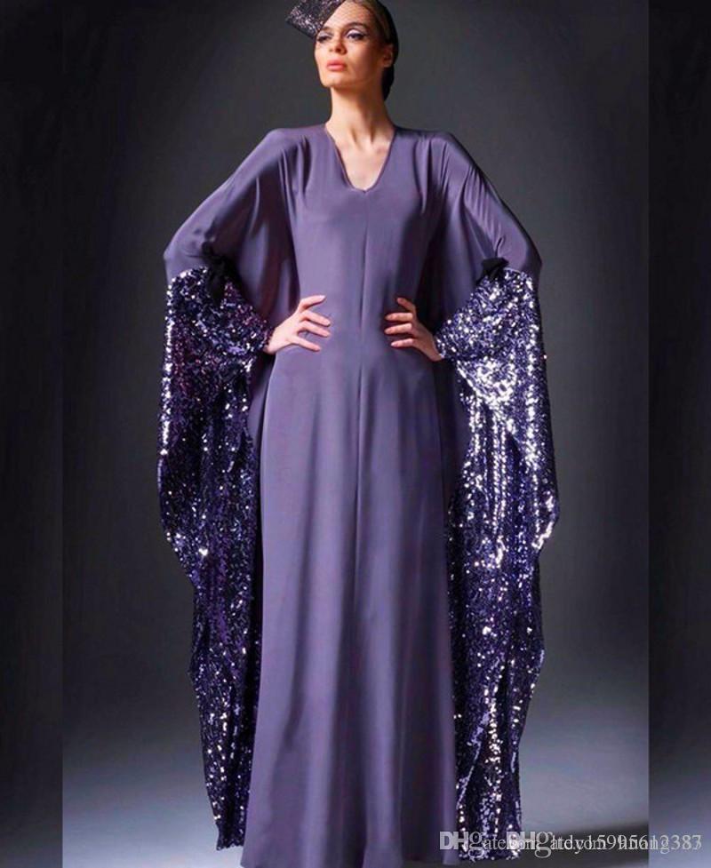 2019 New Purple V-Neck Saudi Arabia Evening Dresses A-Line Dubai Kaftan Prom Gowns Chiffon Sequined Party Dress Vestidos 125
