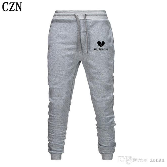 Los hombres de pantalones Streetwear Hip Hop XXXTentacion pantalones casuales hombres de la aptitud Joggers pantalón otoño paño grueso y suave del espesamiento de lazado EL-2