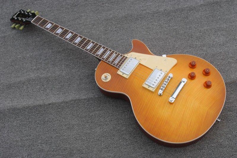 Fábrica feita Jimmy Page guitarra VOS 1959 uma peça reta pescoço plana chama limão explosão mel estourar corpo de mogno de nitrocelulose