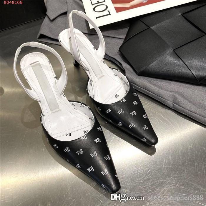 Mulheres mais clássicas da primavera e do monograma de verão sandálias de pontas com couro meados de calcanhar sandália calcanhar de altura de 6 cm, pacote completo