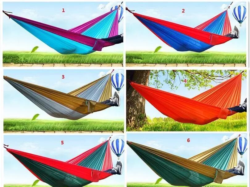 24 colores portátil paracaídas de nylon Tela Para el viaje de camping hamaca doble de la persona de seguridad al aire libre de paracaídas 270 X 140 cm 600g viaje Hamaca