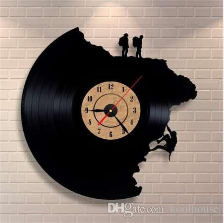 Compre 2019 Relojes De Pared Decorativos De Gran Tamaño Disco De Vinilo Forma De Escalada Reloj De Arte De Acrílico 3d Estilo Antiguo Mecanismo De