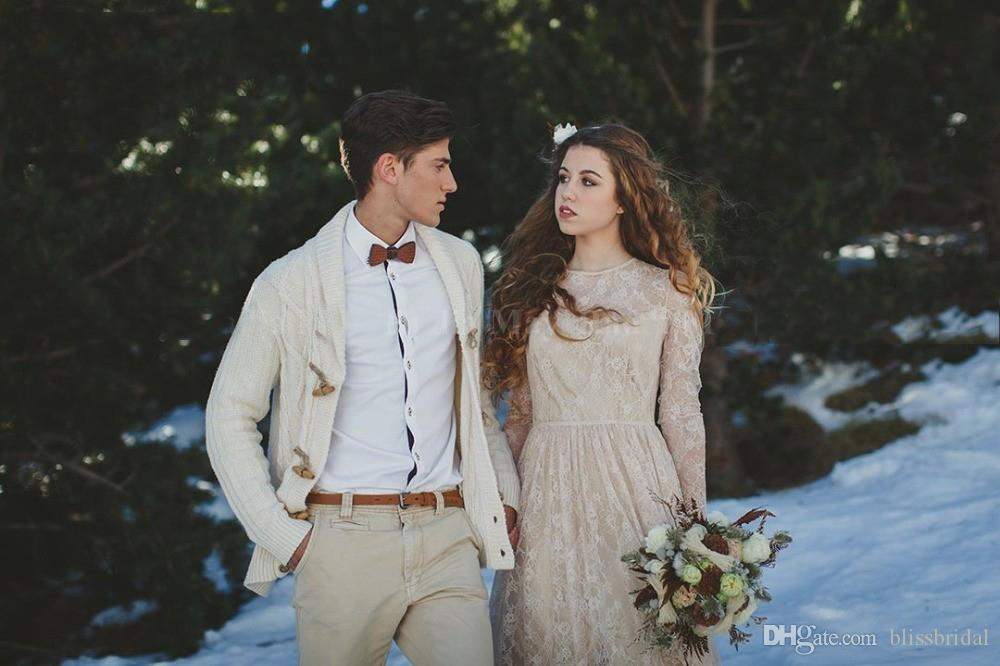 Romantic Long Sleeves Boho Wedding Dress 2019 Vintage Nude Lining Country Wedding Gowns Sexy Backless Beach Bridal Dresses