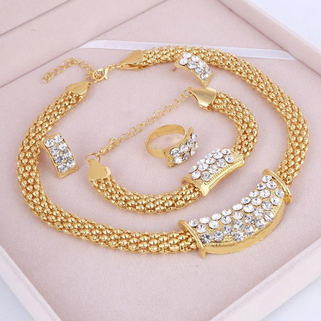 2020 fashion Classic Dubai African Antique Style 4pcs/Set Crystal Gold Jewelry Sets Wedding Engagement Bridal Jewellery Set