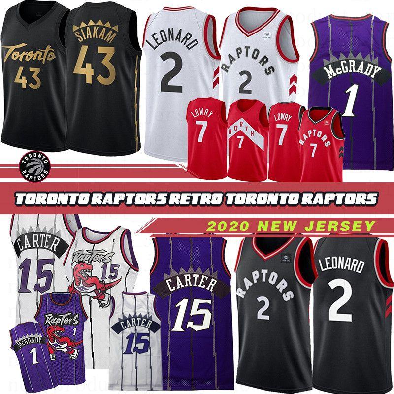 Maglia da basket uomo Toronto Raptors 43 Pascal Siakam 1 Tracy McGrady 15 Vince Carter 7 Kyle Lowry 23 Fred VanVleet Maglie da basket 19 20 Top