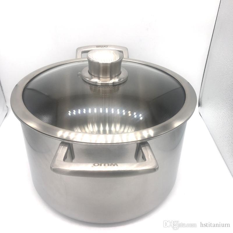 22 * 14 cm 26 * 17 cm olla de sopa de titanio ultraligera utensilios de cocina de titanio buen juego Utensilios de cocina de diferentes tamaños venta caliente y el mejor logotipo de marca de calidad