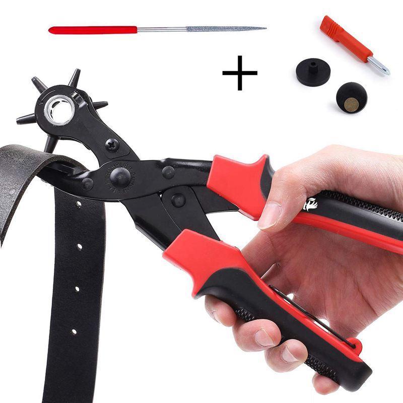 Perforation PINCE renouvelable Heavy Duty cuir Perforation outil pour ceintures, porte-monnaie, bracelets et plus, 6 tailles-2 mm, 2,5 mm,