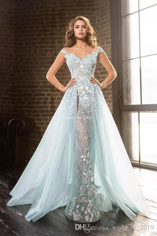 9247eb52974 ... Prom Dresses 2019 Sexy deep V-neck shoulder Lace Applique transparent  skirt back zipper sequins