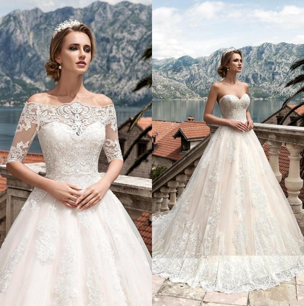 Elegante Lace A linha de vestidos de casamento com Off The Shoulder Lace Jacket 2020 Princesa Boho Vestidos de casamento Lace Up Voltar vestidos de noiva BA4684