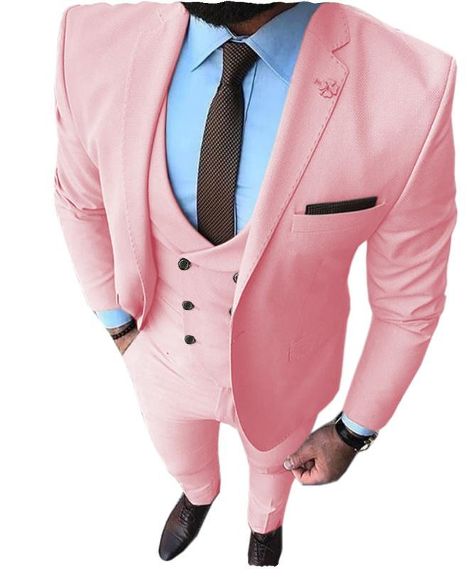 Yeni Pembe Erkekler Balo Smokin Moda Çift Breasted Suit Slim Fit 3 Adet Notch Yaka Düğün Groomsmen (Blazer + Yelek + Pantolon)