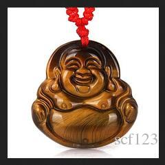Tropfenschiff Hand Made Tigerauge Stein-Anhänger Maitreya Buddha Jade Anhänger Halskette für Frauen Männer Anhänger Schmuck