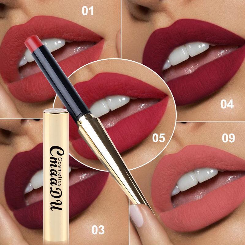 Bala CmaaDu de oro del lápiz labial del lápiz labial mate pluma duradera Fácil Cosméticos usar maquillaje del lápiz labial mate