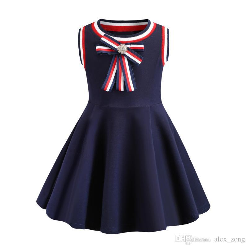 Kız Elbise 2019 Yaz INS Bebek Kolsuz Eğlence stilleri Büyük Yay yüksek kaliteli pamuk kız elbise tasarımcısı çocuk giyim