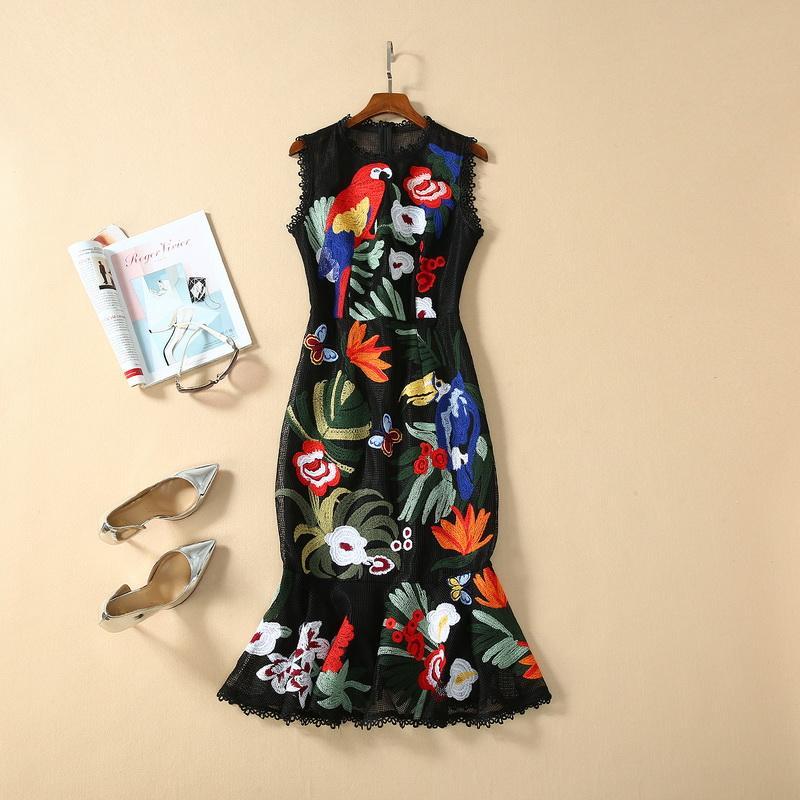 Milan Pist elbise 2020 İlkbahar Yaz Yazdır Nakış Kadın Tasarımcı Elbise Marka Same Tarzı Elbise 12-1,9