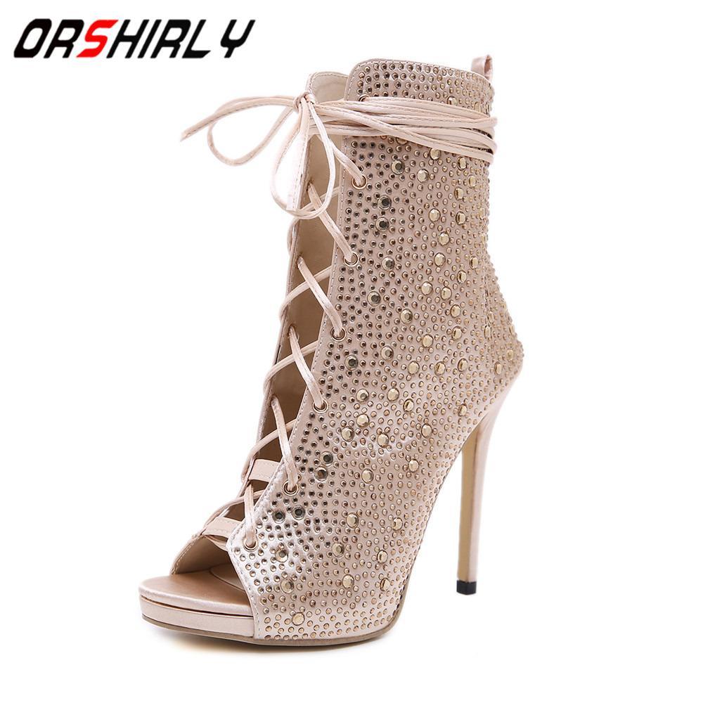 Orshirly nuove donne scarpe diamante signore sandali sexy tacco alto 12 centimetri pompe cinturino alla caviglia stivali freddi scarpe romane donne ballando