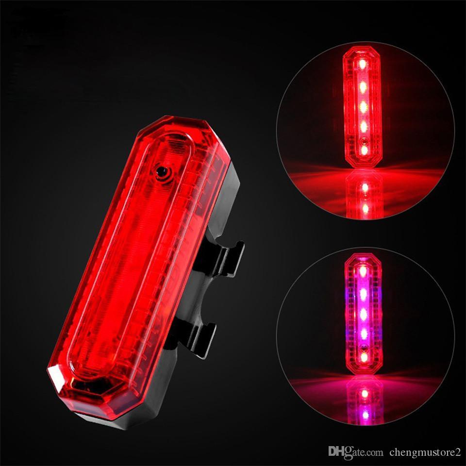 LED vélo recharge USB mèche d'économie d'énergie lumineuse Nouvelle sécurité VTT deux couleurs avertissement lumière lumière nuit