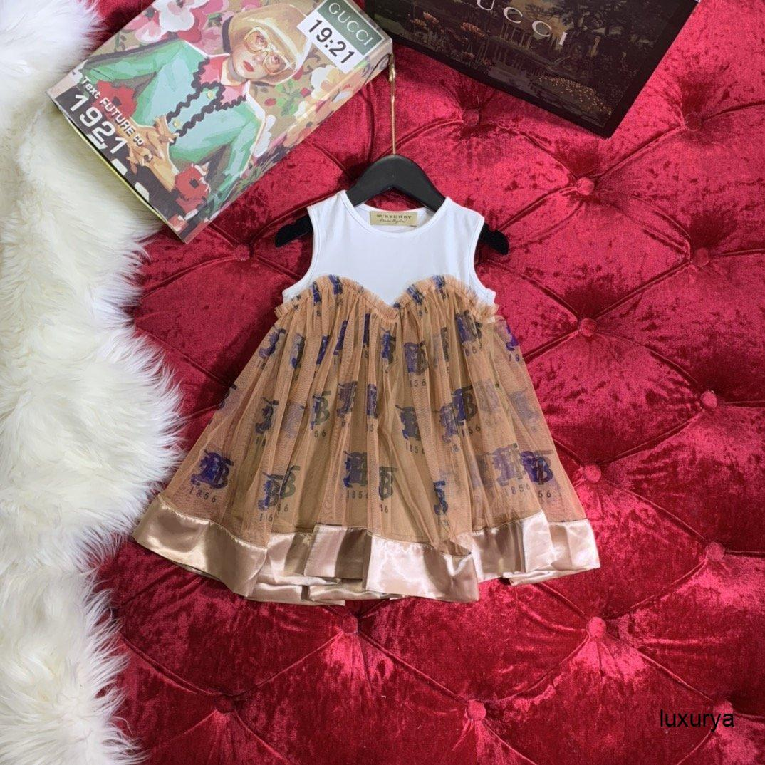 Mädchen-Sommer-beiläufige Art und Weise Qualitäts-Weste Kleid Schwanz Netz Seide Spleißen 032812