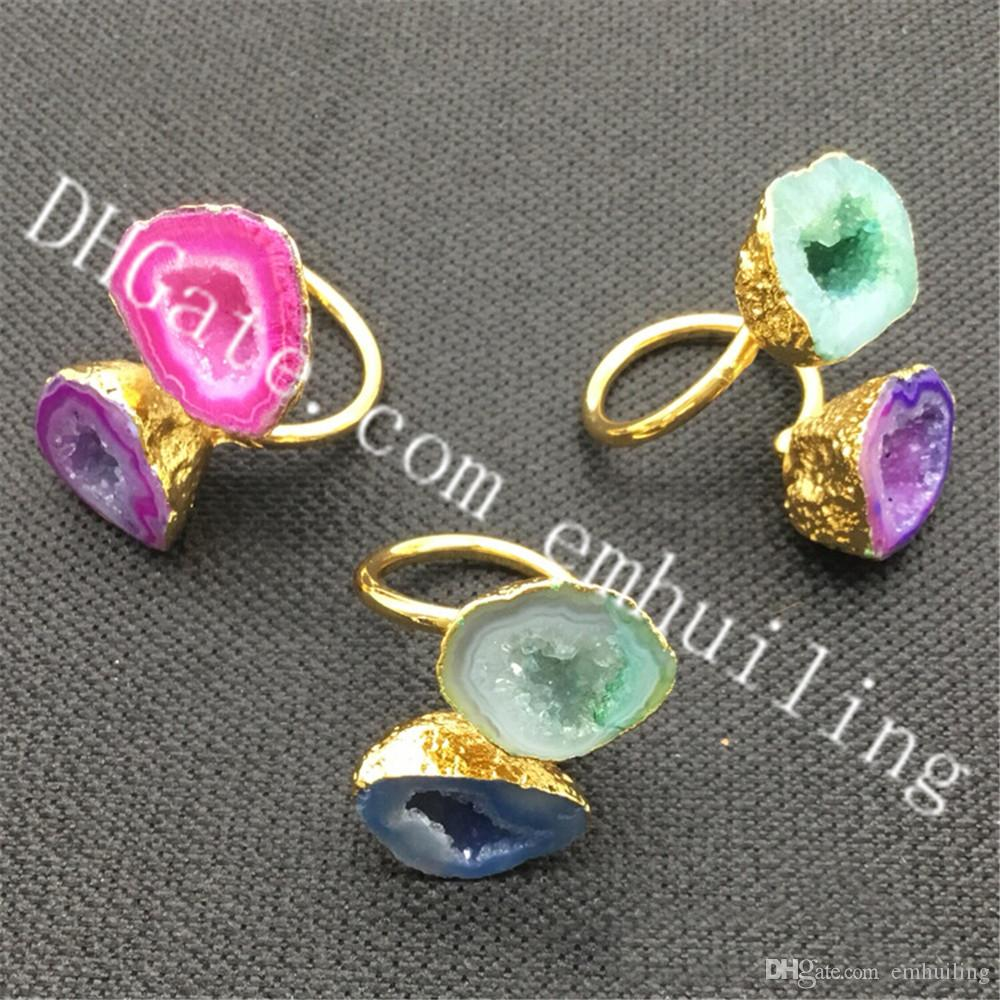10Pcs Irregular Mixed Random Color Double Druzy Geode Stone Rings Gold Electroplated Dyed Agate Quartz Gemstone Dual Rings Adjustable Size