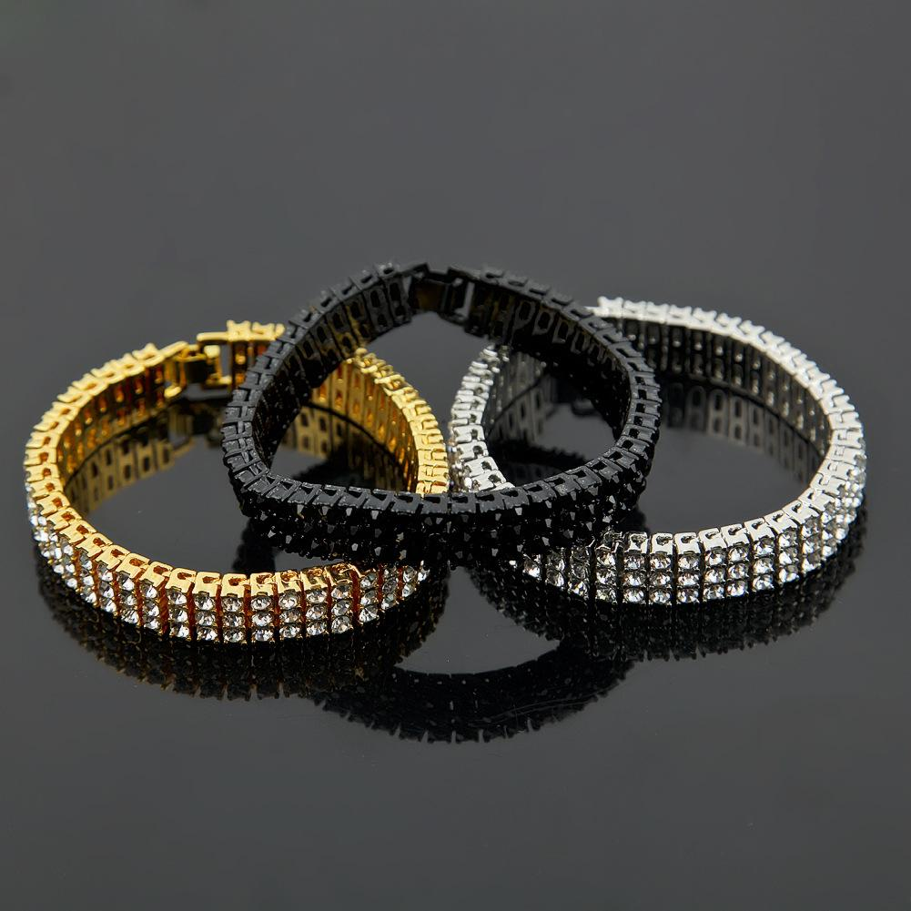 """12mm 8"""" personalized Hip Hop Mens Bling Gold 3 Rows Tennis Chain Bracelet Iced Out Full Diamond Rapper Jewelry Gifts for Guys for Sale"""