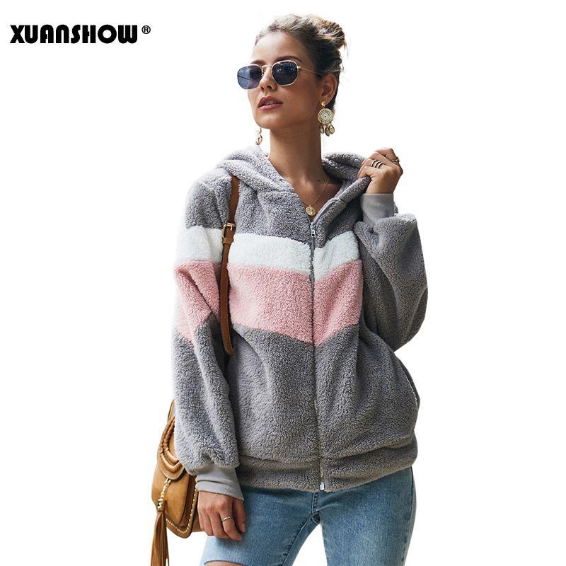 XUANSHOW 2019 Winter-Unterhalt warme Kleidung Damen Hoodies Sweatshirts lose Zipper Langarm-Taschen-Stitching-Plüsch-Jacken-Mantel Y200610