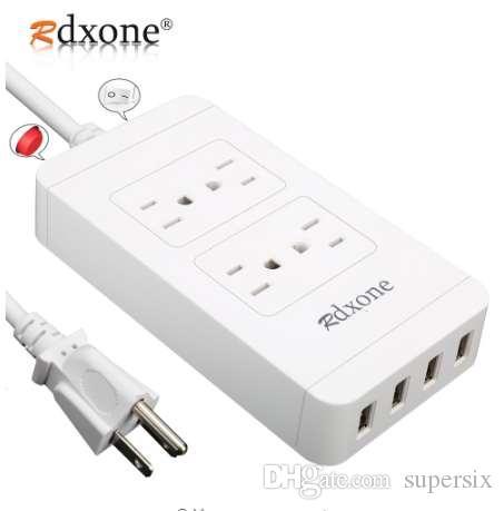 Power Strip con USB, protezione contro le sovratensioni con uscita 4 uscite Rdxone con 4 USB 6ft