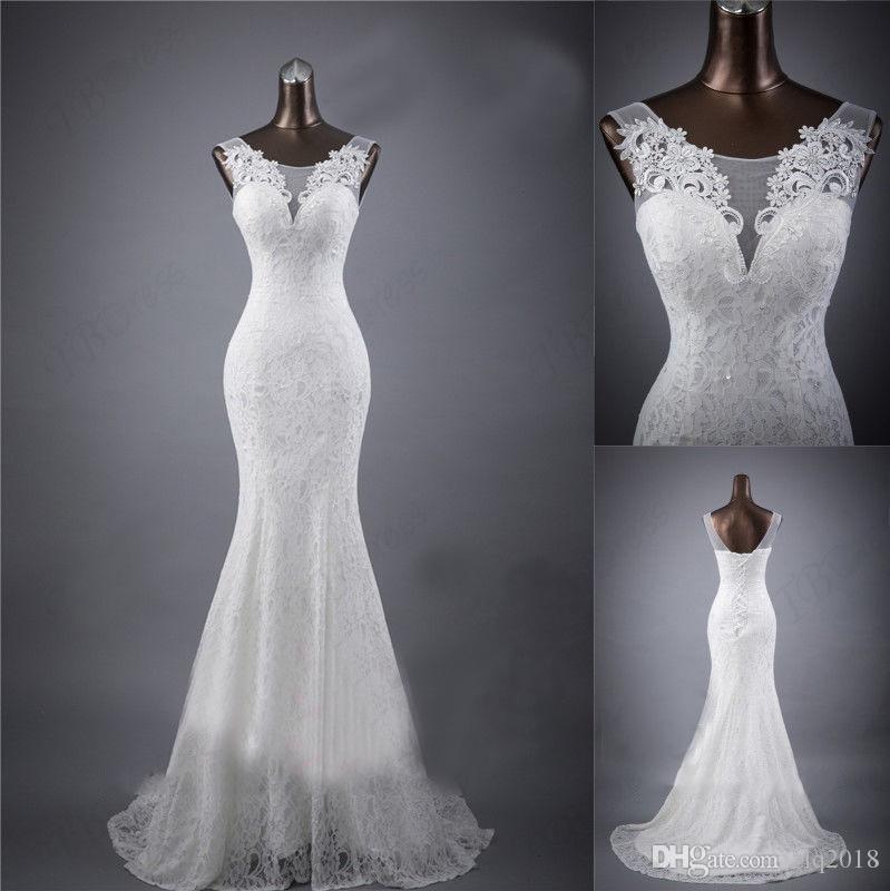 2019 rendas país vestidos de casamento modelo fotos sheer colher apliques frisado sereia varrer trem praia barato vestidos de noiva plus size