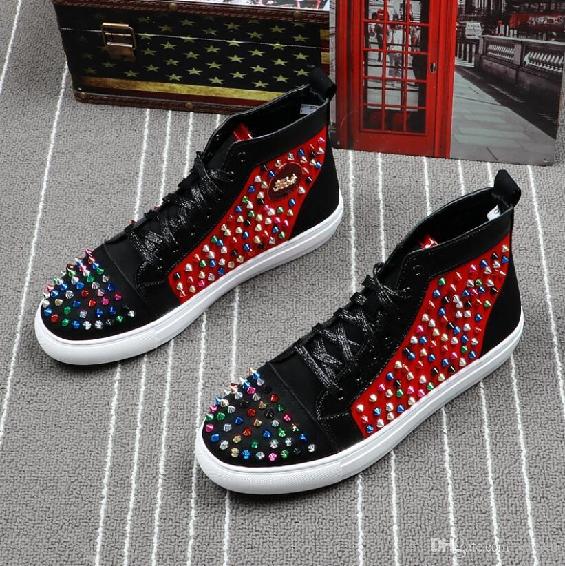 High Quality Men hip hops New Streetwear Punk Rivets Shoes Glitter Bling Hook Loop Man Leisure Charm High style Casual shoe dh2a38