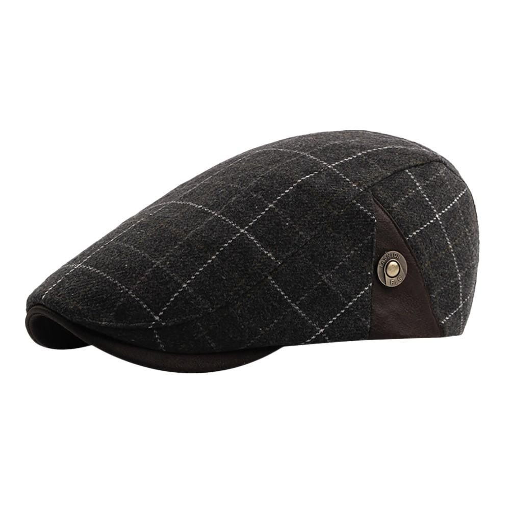 MUQGEW 2018 NEW Arrival Winter Men Plaid Vintage Ajustable Gatsby Peaked Cap Newsboy Beret Hat men's winter hats bonnet femme