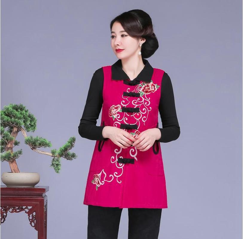 Среднего возраста и старых женщин Qiudong элегантный жилет топы Национальный ветер жилет двухслойные с длинными рукавами повседневная женская одежда