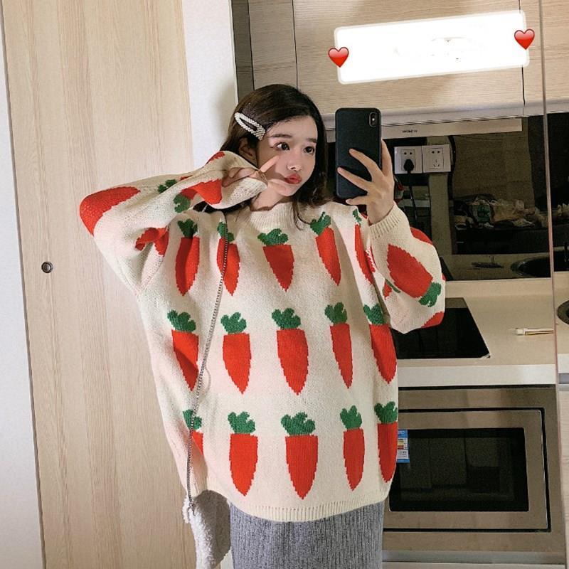 Женская одежда Осень Морковь Pattern Свитера Толстые Водолазка Вязаная пуловер Сыпучие Симпатичные Harajuku Девчушки Вверх
