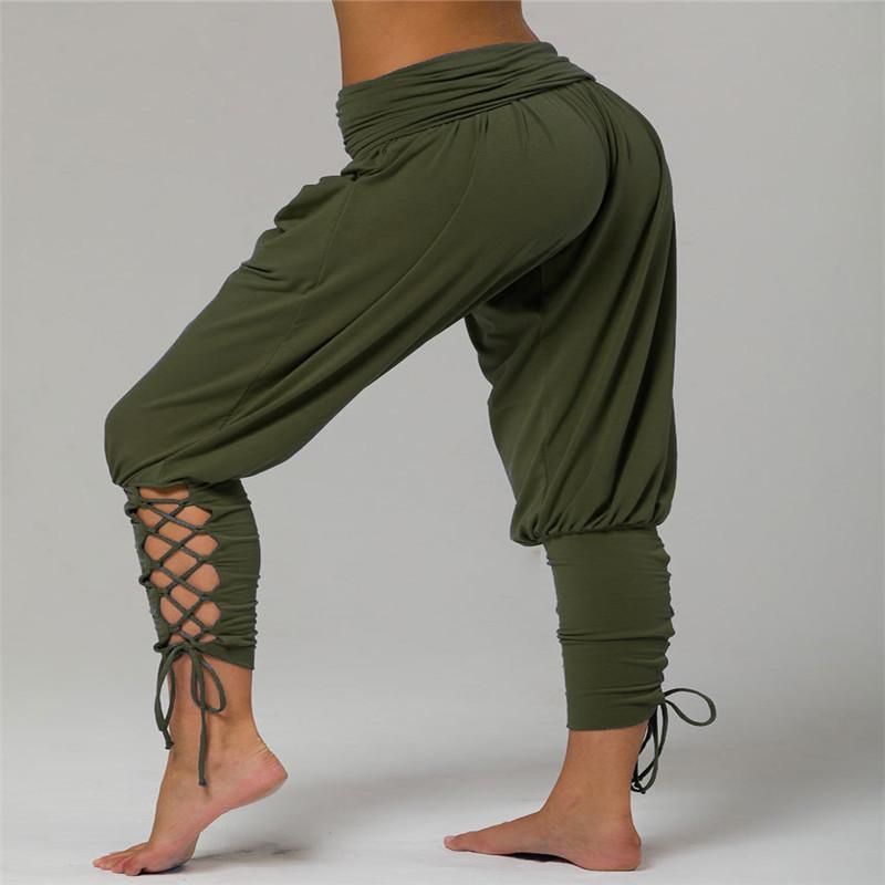 Mode-Art-Frauen-Verband-Pants Personalisierte Design Loch-Hosen-heiße Verkaufs-Normallack beiläufige Eignung Sport PantsFree Versand