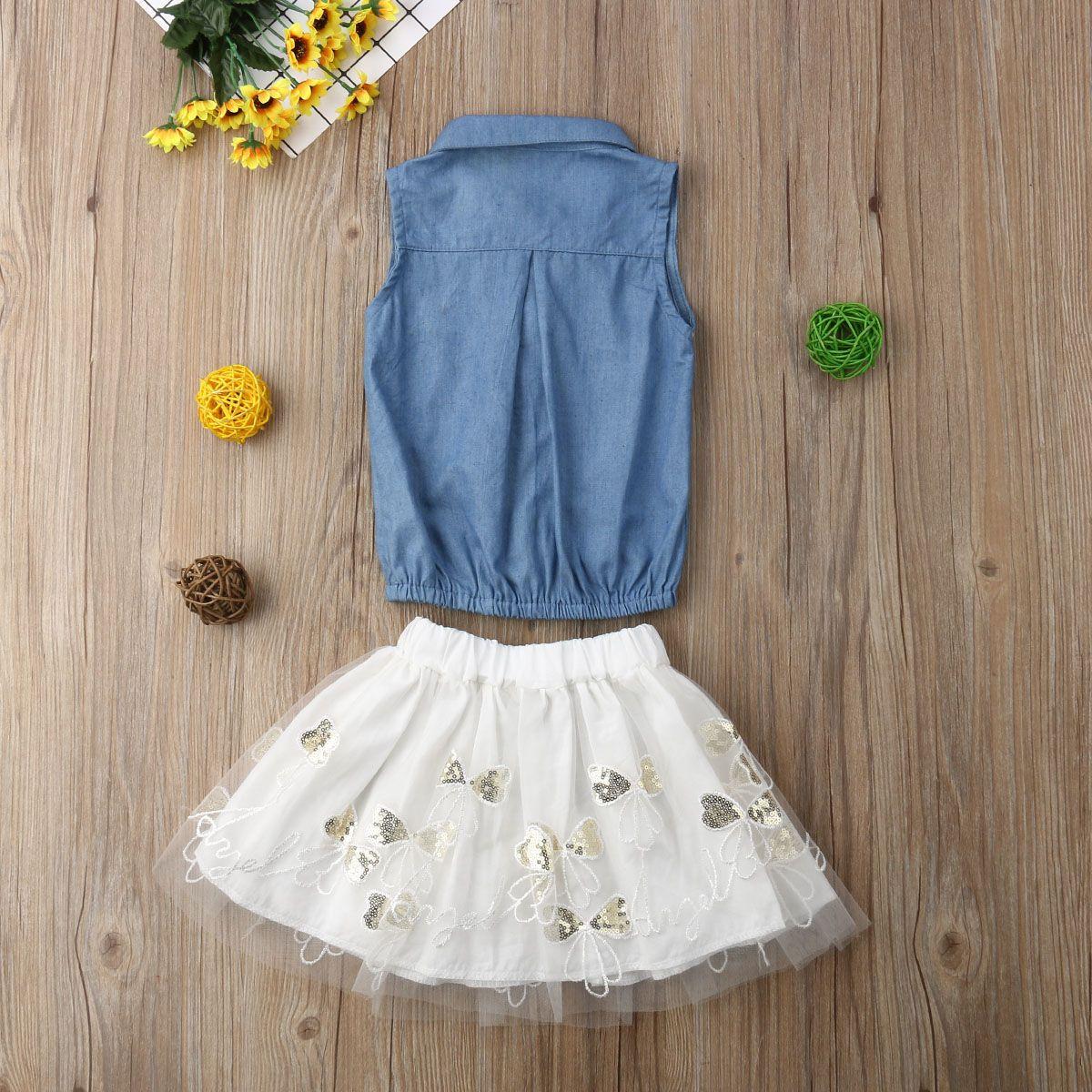 UK 2PCS Toddler Kid Girl Summer Flower Embroidery Tops+Tutu Skirt Outfit Sunsuit