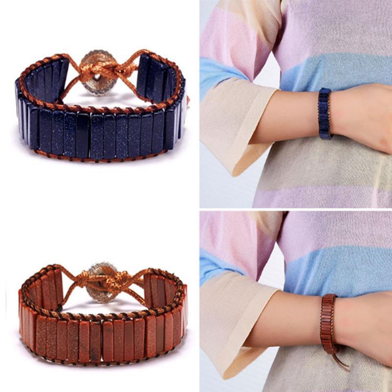 10 Il colore di pietra del tubo braccialetto gioielli Beads Boemia Perline naturali fatti a mano in pelle Winding Bracciale paio braccialetto regalo creativo ZJJ90