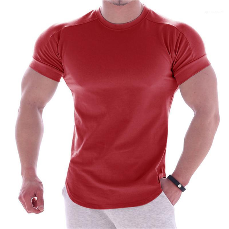 Manga de la manera camiseta de estilo casual para hombre Ropa para hombre del diseñador del color sólido de las camisetas de cuello redondo corto verano