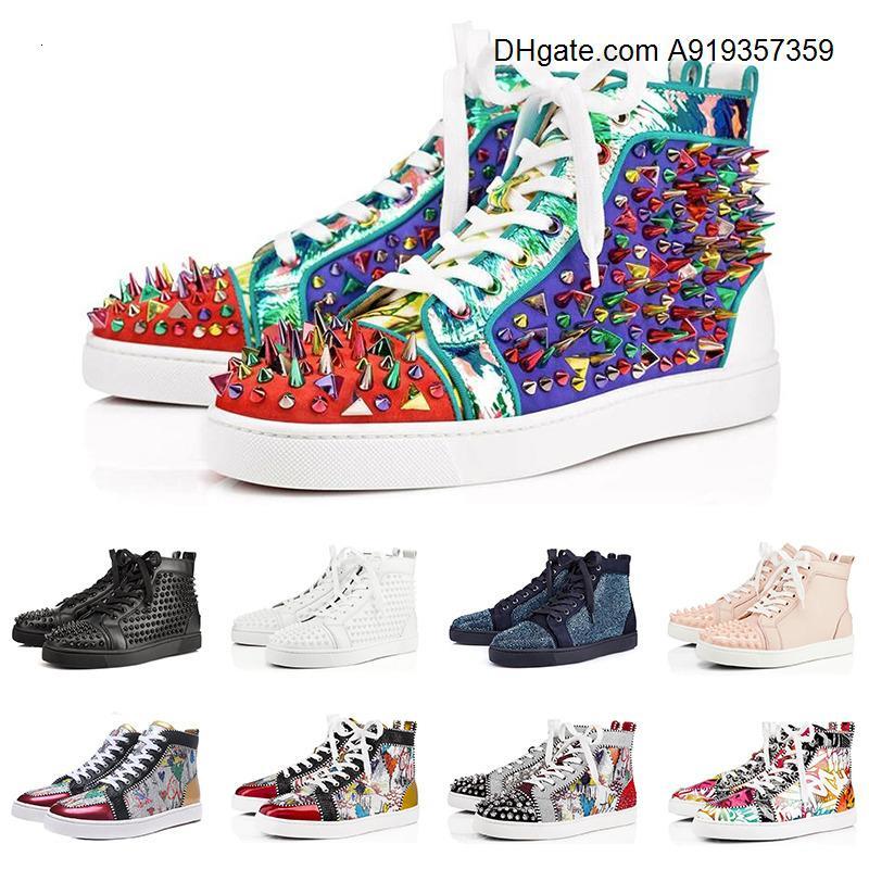 mode chaussures rouges Bas clouté Spikes chaussures de sport pour hommes, femmes Flats Parti blanc noir Lovers occasionnels taille Sneaker 36-47