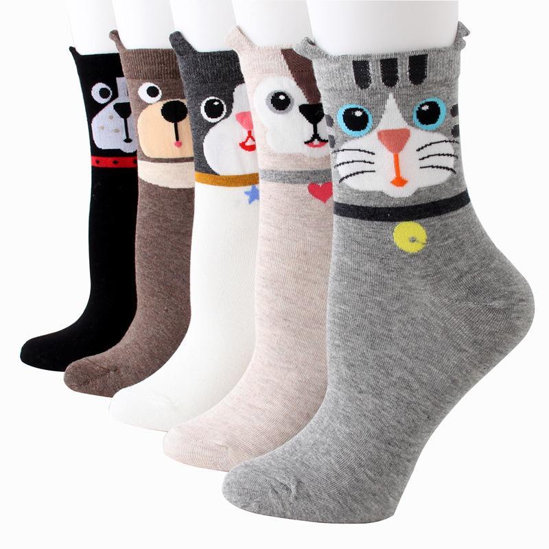 Festes Hundegesicht Studenten-Socken-nette Karikatur Hund und Katze-Ohr-Mädchen Socken aus reiner Baumwolle Absorbent Socken M121 Freies Verschiffen
