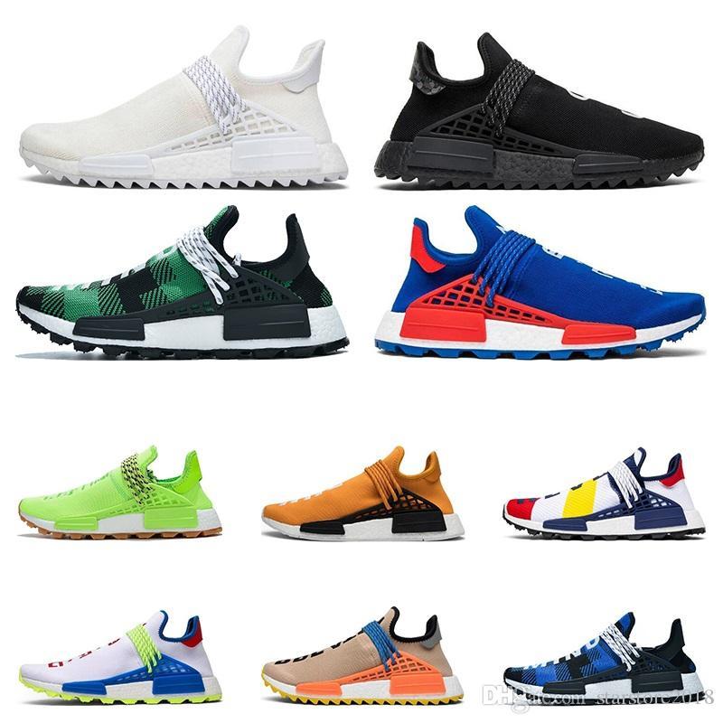 2020 human race hu Pharrell Williams men women running shoes NERD Black Blank Canvas Homecoming Solar Pack Mother mens trainer sport sneaker