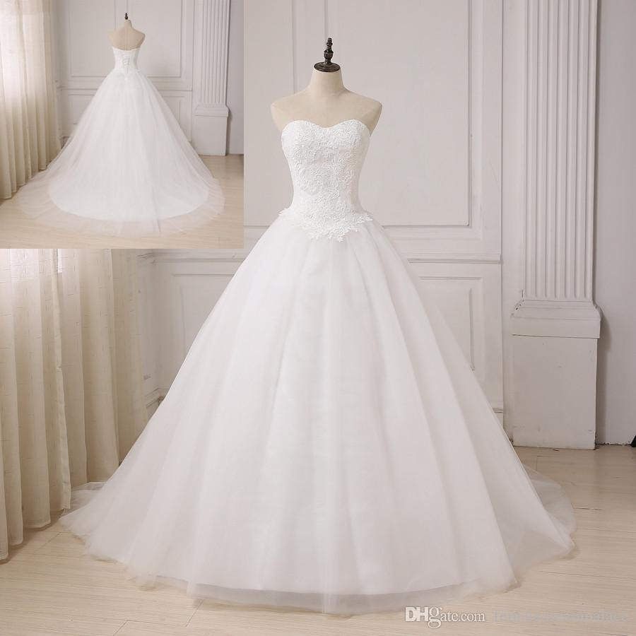 2019 Simple White Lace Ball Gown Wedding Dresses Custom Sweetheart Lace Up Wedding Gowns Cheap Sweep Train Country Bridal Dress Elegant Dresses Indian Wedding Dresses From Femaledreampalace 30 16 Dhgate Com
